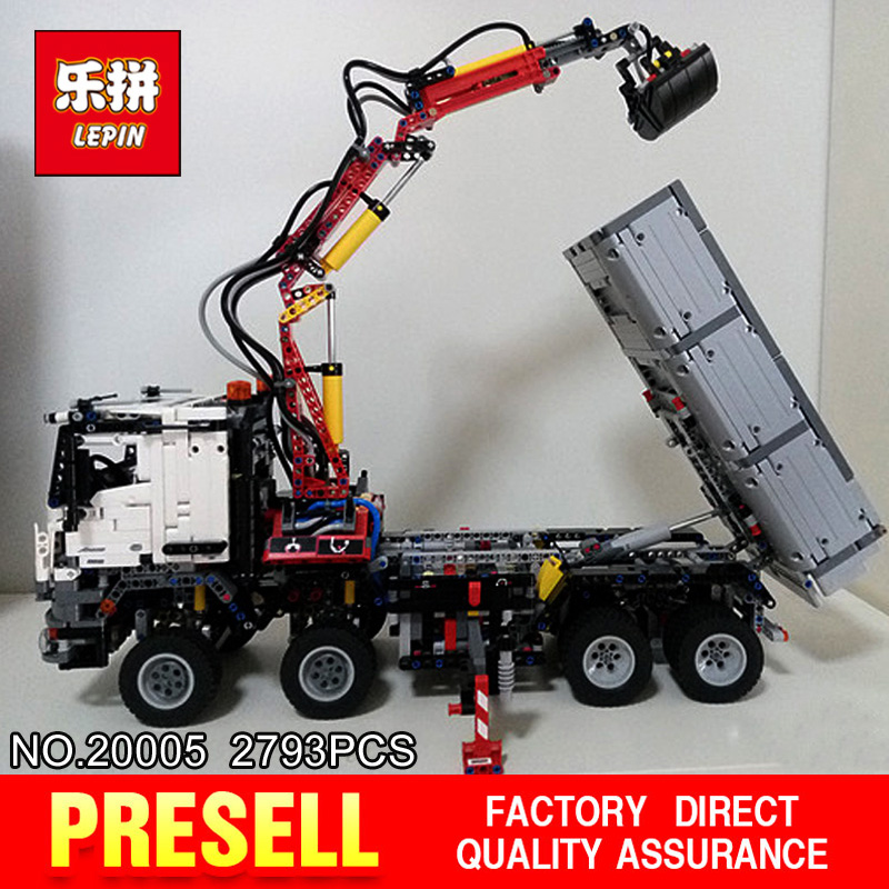 LEPIN 20005 2793Pcs Technic series Arocs truck Model Building blocks Bricks Classic Compatible 42043 for Boy's Christmas Gifts 2793pcs technic remote controlled arocs truck 20005 building kit 3d model blocks minifigures toys bricks compatible with lego