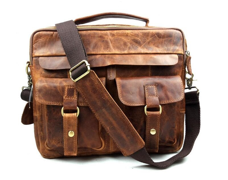 Crazy horse leather men genuine leather handbag laptop men's briefcase tote men messenger bags shoulder vintage mens bag JIE-008