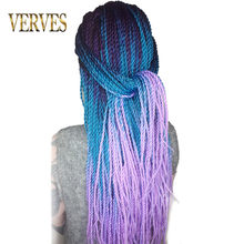 VERVES 24 inch Ombre Senegalese Twist Hair 30 Roots/pack Crochet braids Synthetic Braiding Hair for Women grey,bonde,pink,brown(China)