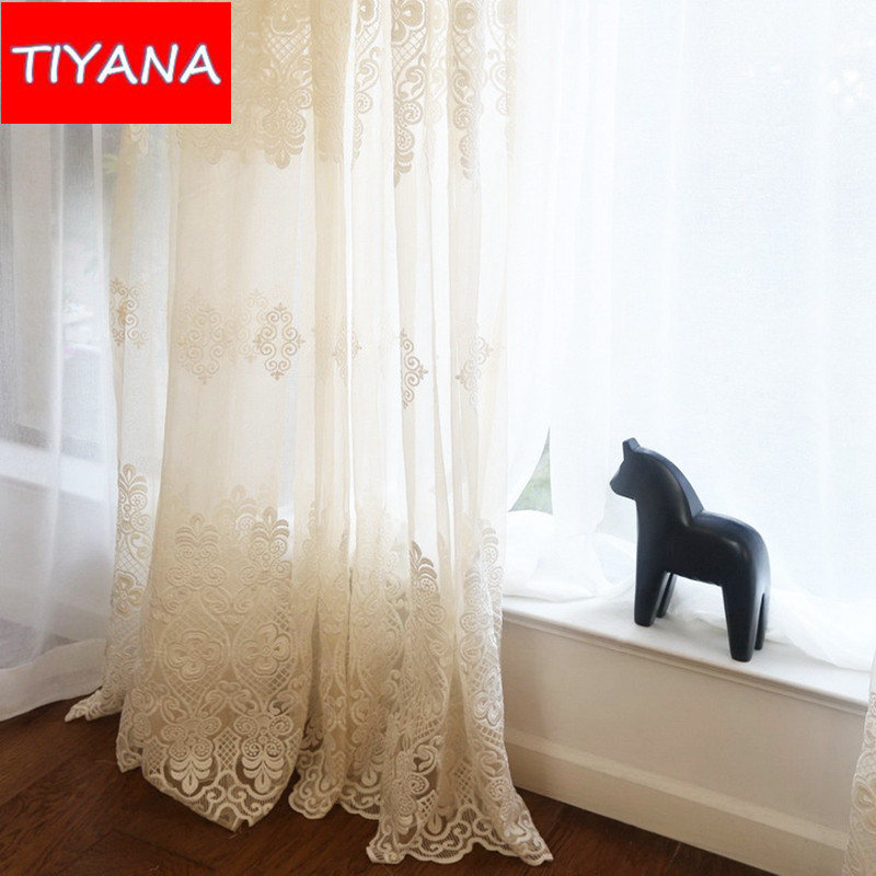 French Lace Curtains  Modern Simple Plaid Lace Sheer Curtain For - cafe curtains for living room