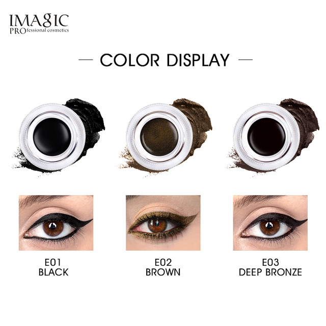 IMAGIC Eyeliner Waterproof Eyeliner Gel Makeup Cosmetic Gel Eye Liner With Brush 24 Hours Long-lasting  Eye Liner Kit 3