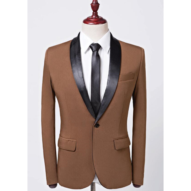 2017 Brown Men Suit Set Terno Masculino Slim Fit Mens Suits For Prom Wedding Dinner Men Blazer Groom Tuxedo Coat (Jacket+Pants)