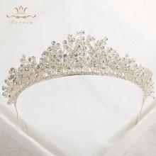 Bavoen Top Quality 100% Handmade Wedding Crystal Tiara Headwear Brides Rhinestone Hairbands Evening Hair Jewelry