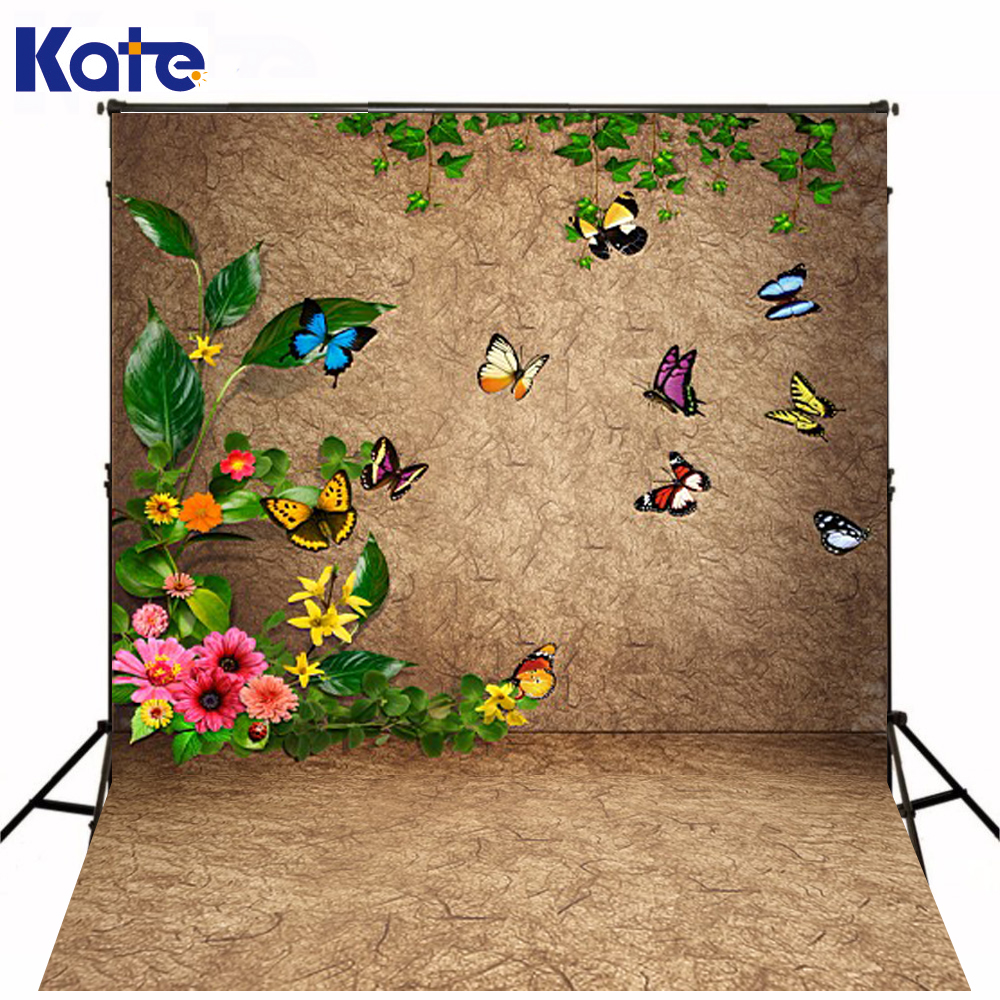 200Cm*150Cm Kate Backgrounds Colorful  Butterflies Flitting Retro Wall Floor Photography Backdrops Photo Lk 1573 200cm 150cm backgrounds brick floor booth walls photography backdrops photo lk 1581