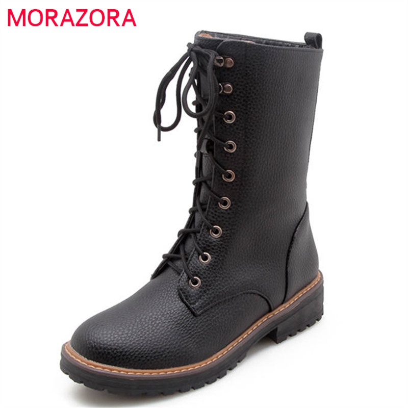 MORAZORA 2018 new fashion ankle boots for women lace up autumn winter platform boots comfortable square heels ladies shoesMORAZORA 2018 new fashion ankle boots for women lace up autumn winter platform boots comfortable square heels ladies shoes