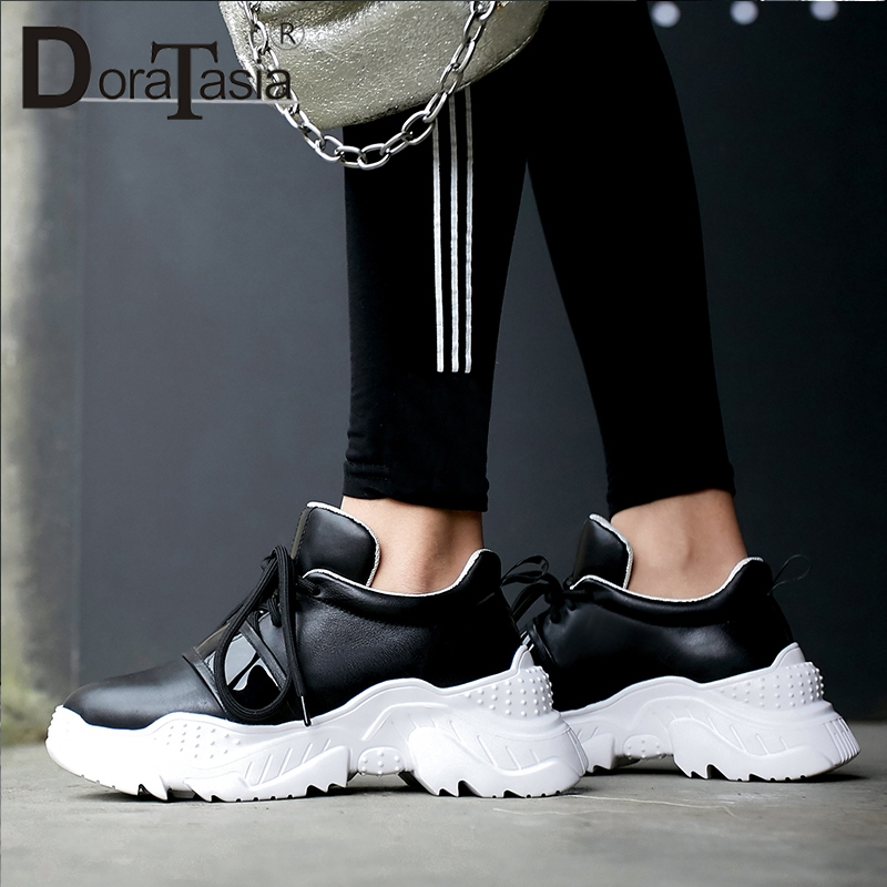 DoraTasia 2019 New Spring Genuine Cow Leather Sneakers Woman Lace Up Mixed Color Luxury Casual Flats For Ladies Shoes WomanDoraTasia 2019 New Spring Genuine Cow Leather Sneakers Woman Lace Up Mixed Color Luxury Casual Flats For Ladies Shoes Woman