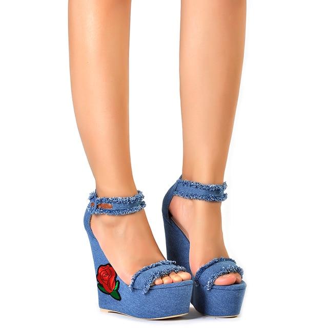 Pink Palms women summer shoes new navy denim platform  shoes Folk Flower Embroidered Fabric high heels sandals