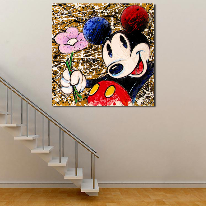 Mickey Mouse Graffiti Minimalist Wall Art Canvas Poster And Print Canvas Painting Oil Decorative Picture For Bedroom Home Decor-in Painting & Calligraphy from Home & Garden