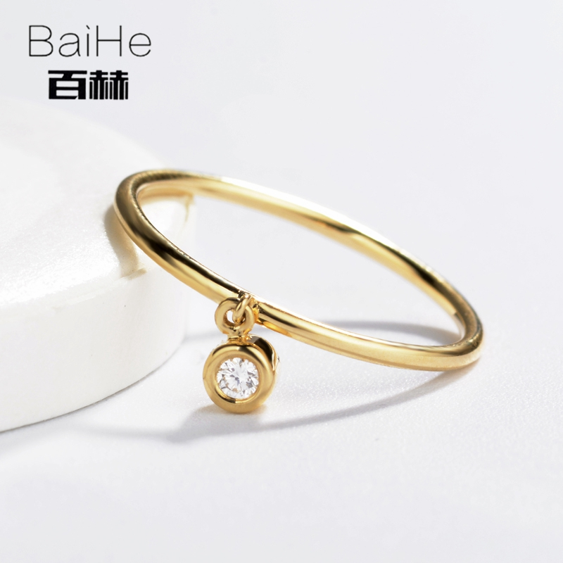 BAIHE Solid 14K Yellow Gold 0.05CT Certified H/SI Round CUT 100% Genuine Natural Diamonds Wedding Women Trendy Fine Jewelry Ring