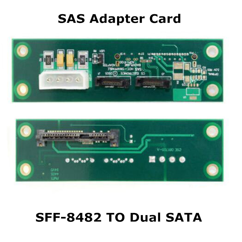 SFF-8482 SAS 29 Pin 29pin to Dual 7 Pin 7pin SATA Hard Disk Drive HDD Raid Adapter Card SFF 8482 PCBA SAS-SFF-8482 1 5ft 0 5m slim line sas 4 0 sff 8654 4i 38pin host to 4 sata 7pin target hard disk fanout raid connecting cable 50cm