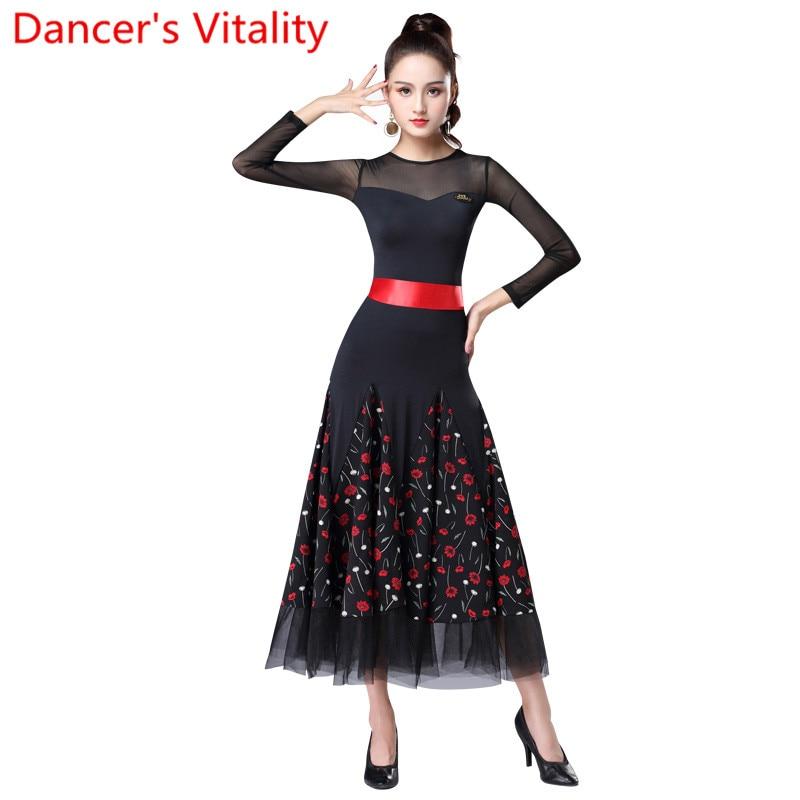 2019 New Modern Dance Big Hem Slap up Ice Silk Chiffon Dress National Standard Ballroom Waltz