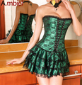 Ambiels Hot Sale Shapers Green Red Lace Evening Sexy Women Corset and Bustier Plus Size Push up Gothic corset dress with skirt