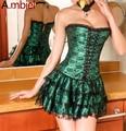 Ambiels Shapers Venda Quente Verde Laço Vermelho vestido de Noite Sexy Mulheres do Espartilho e Bustier Plus Size Empurrar Para cima do espartilho Gótico vestido com saia