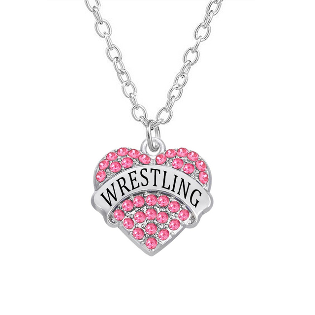 Wholesale sports jewelry crystal heart pendants wrestling necklaces wholesale sports jewelry crystal heart pendants wrestling necklaces long thin chain jewelry aloadofball Image collections