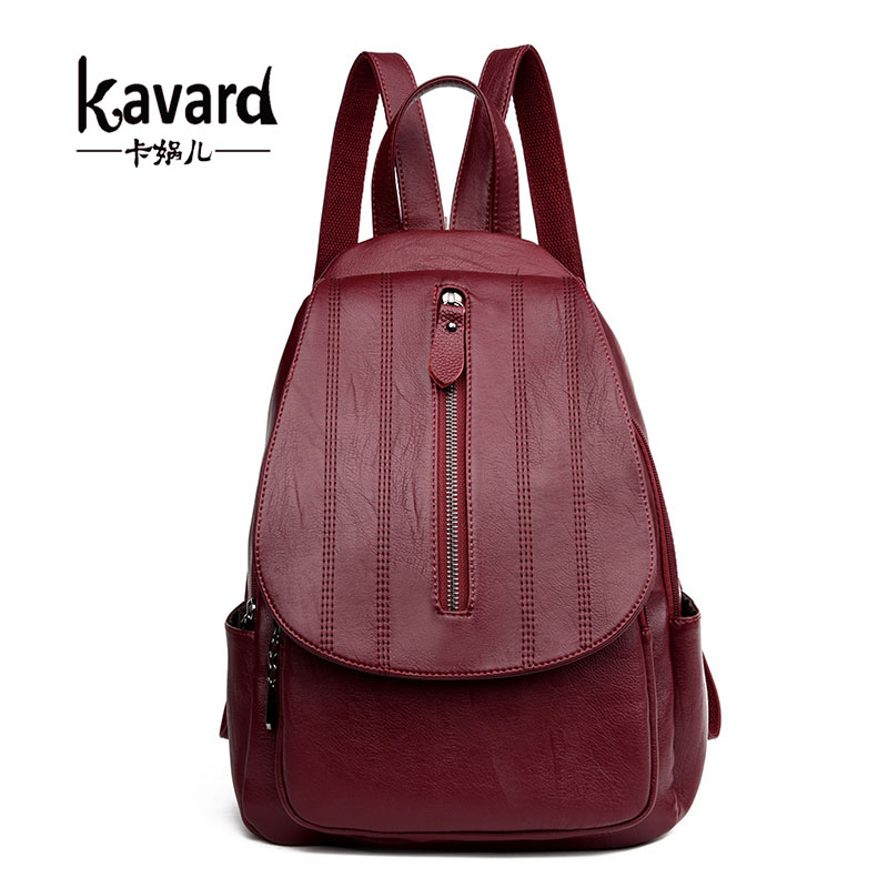 Kavard Brand Backpack Women Backpacks Preppy Style Solid High Quality Leather Backpack Small School Bags for Girls Softback 2017 women backpack simple style school bags for teengaers girls famous designer solid ladies high quality female leather backpacks