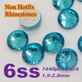 Free Shipping Nail Art Rhinestone Indicolite Color SS6(1.9-2.0mm) 1440pcs/pack Non Hotfix Flatback Crystal Stones