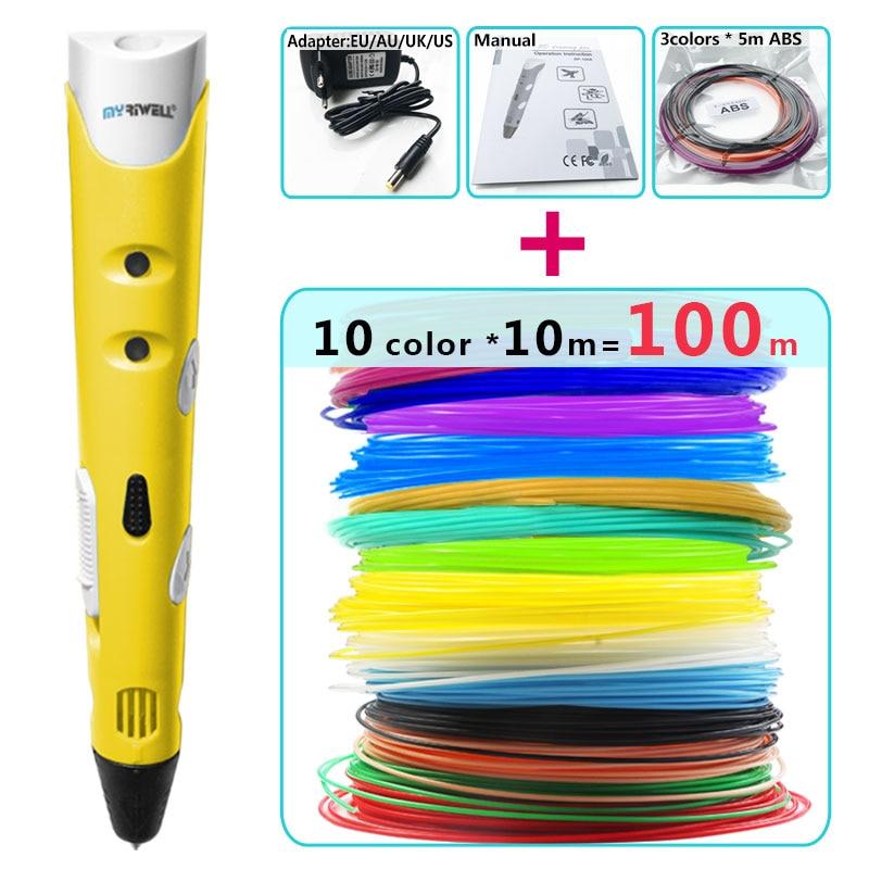 myriwell 3d pen +10 Colour * 10m ABS filament(100m),3 d pen 3d model,Creative 3d printing pen,Best Gift for Kids creative,pen-3d недорго, оригинальная цена
