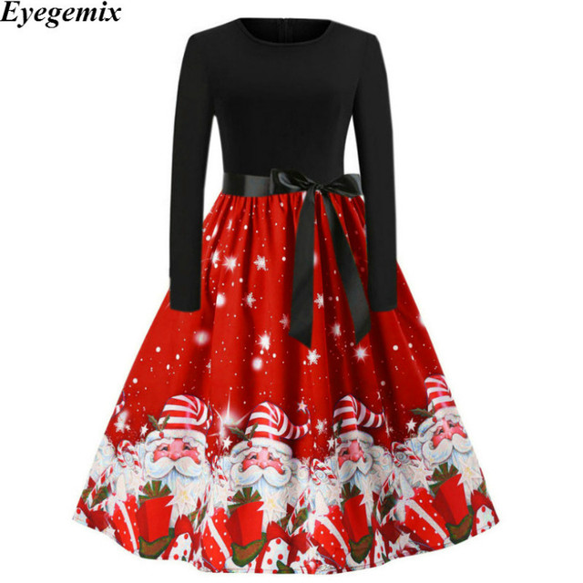 d90ae32580 Winter Print Christmas Dresses Women Vintage Elegant Slim Midi Dress Red Casual  Long Sleeve Party Dress Vestidos Plus Size