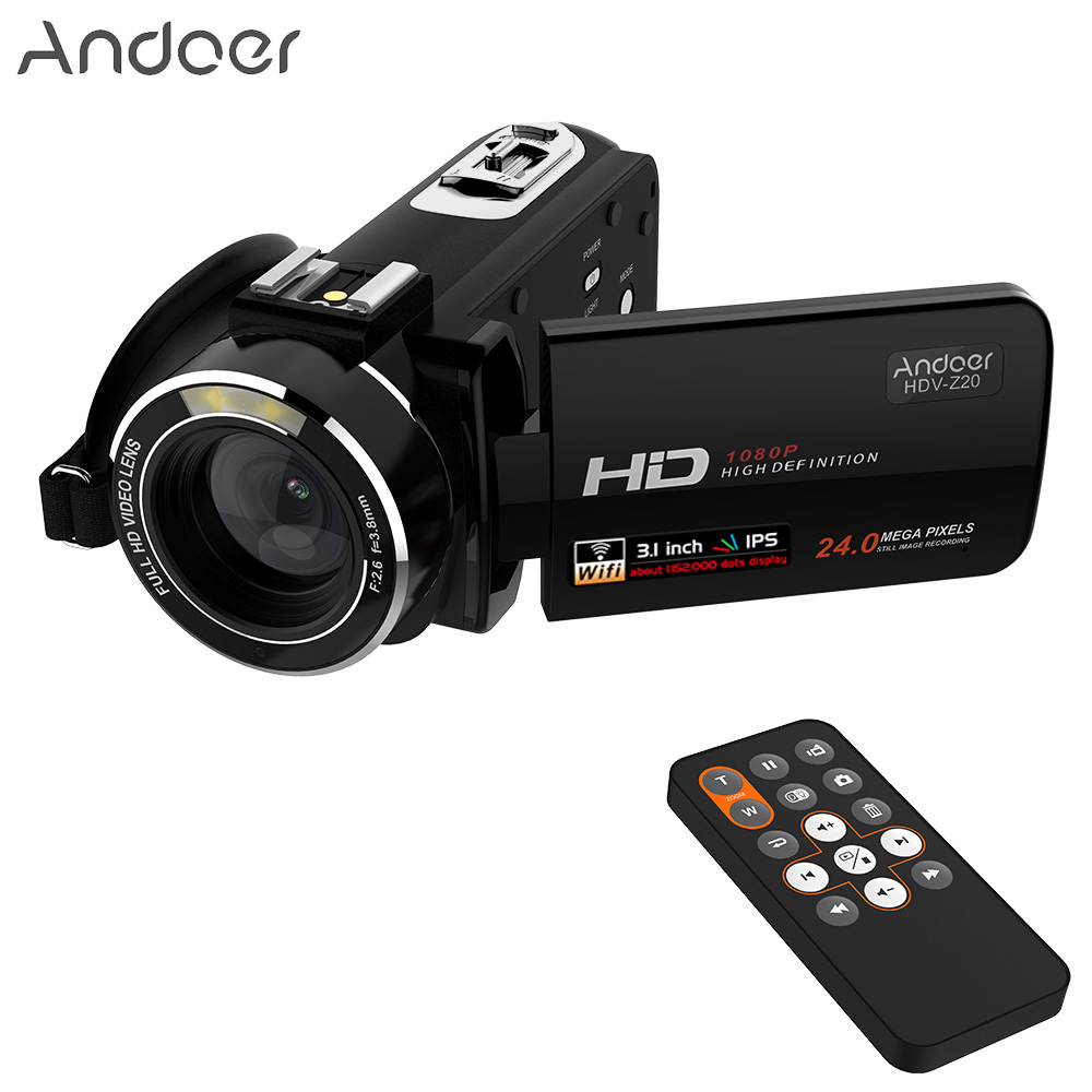 Andoer HDV-Z20 Portable Video Camera 1080P Digital Camcorders Full HD Touch Screen WiFi Remote Control Professional Camcorder