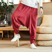 цена на Men Pants Men's Wide Crotch Harem Pants Loose Trousers Wide-legged Bloomers Chinese Style Flaxen HipHop Ankle-Length Baggy