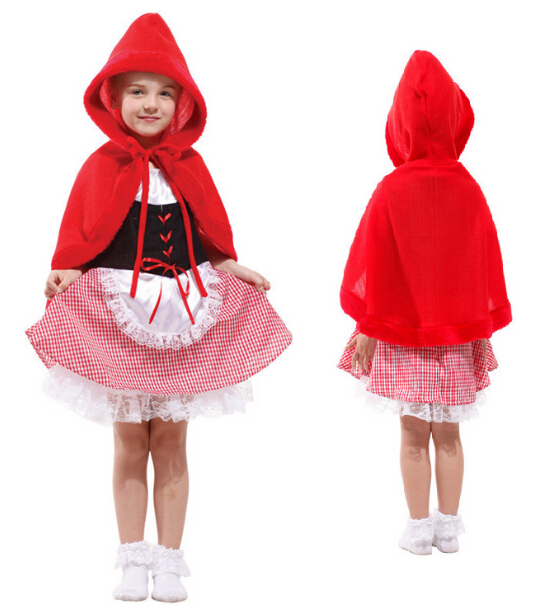 Free shipping halloween kids girls fancy dress little red riding hood cosplay costume children costume clothing