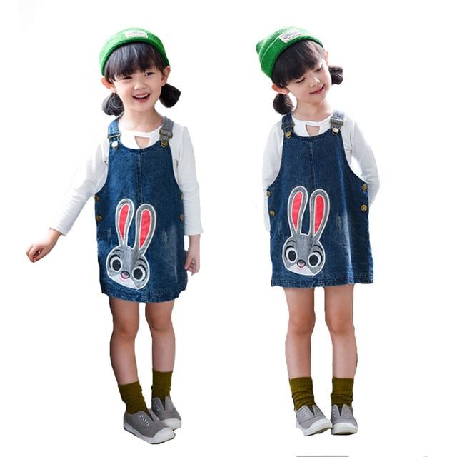 Girls Skirts Spring Brand New 2017 Kids Skirts For Girls High Quality Denim Skirt Kids Clothes Cartoon Cute Baby Clothing