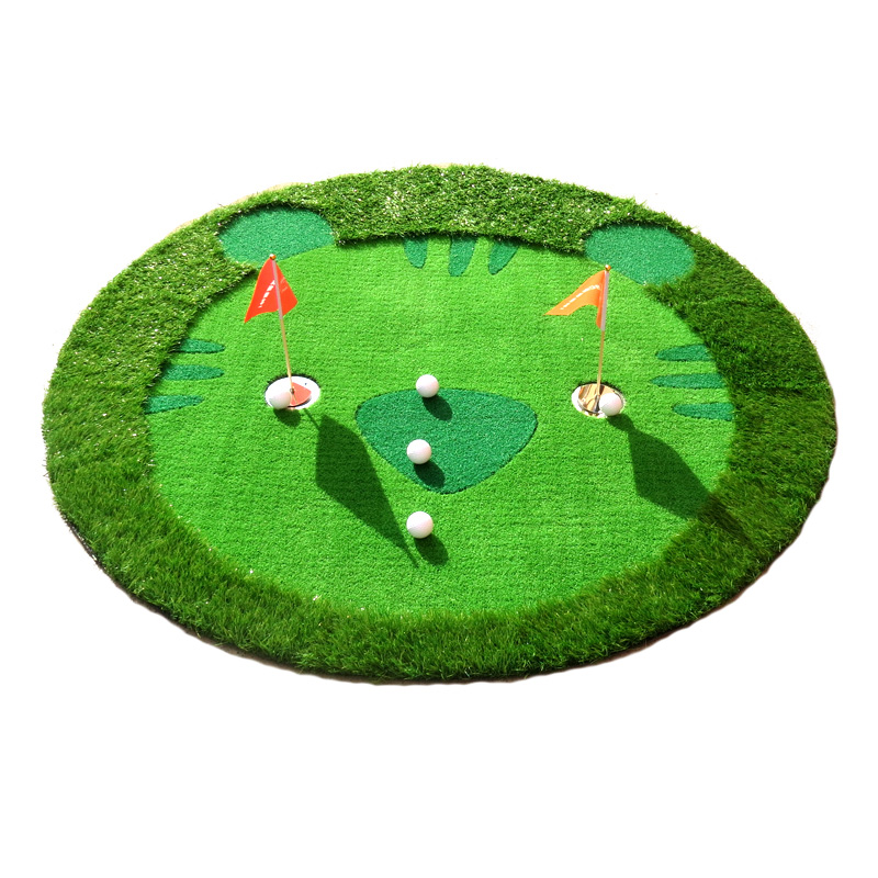 Golf putting mat training aids children Tiger shape green putter swing mat scale practice device  Environmental friendly green crestgolf indoor golf mats putting green golf practice green golf training aids with artificial turf and blanket for choice