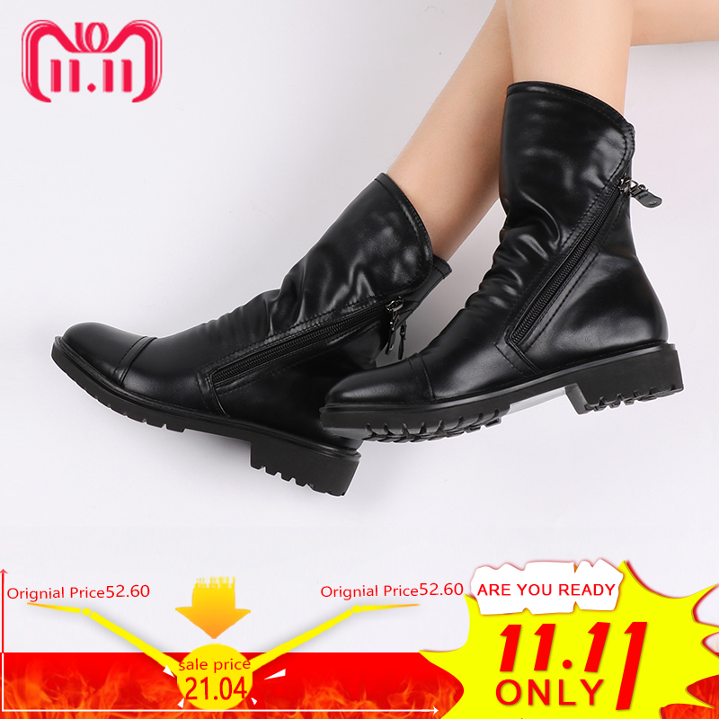 High Quality Soft Leather Women Ankle Boots Square Heel Winter Autumn Boots PU Leather Ladies Zip Ankle Boots Zapatos Mujer pu buckles back zip ankle boots page 3