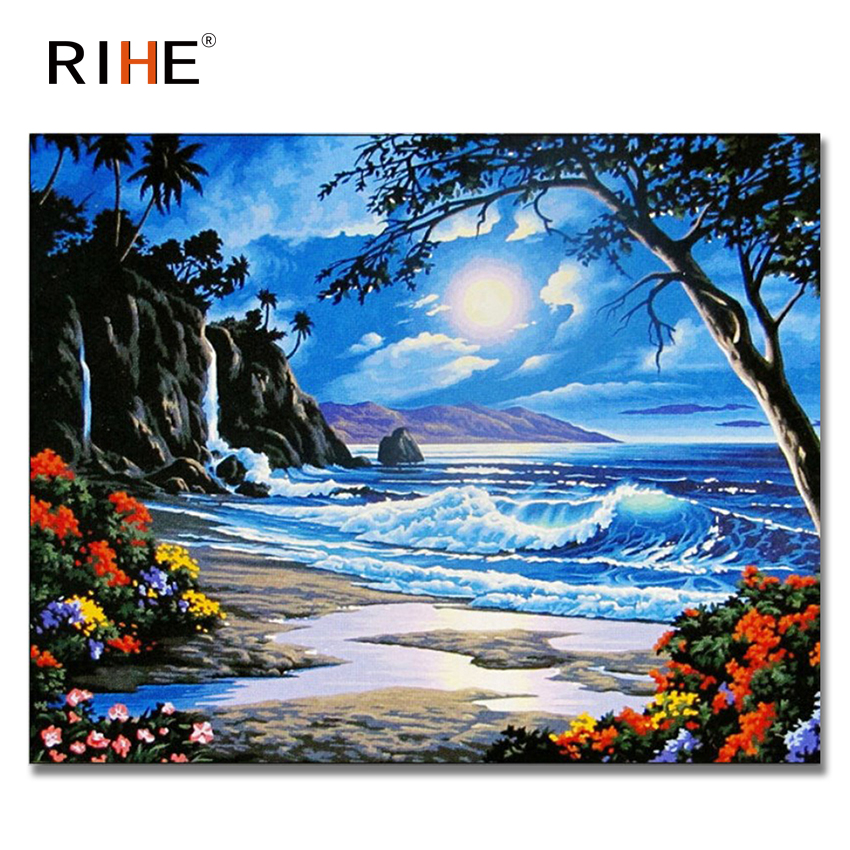 RIHE Sunrise Seaside Diy Painting By Numbers Abstract Island Oil Painting On Canvas Cuadros Decoracion Acrylic Wall Picture 2018 in Painting Calligraphy from Home Garden