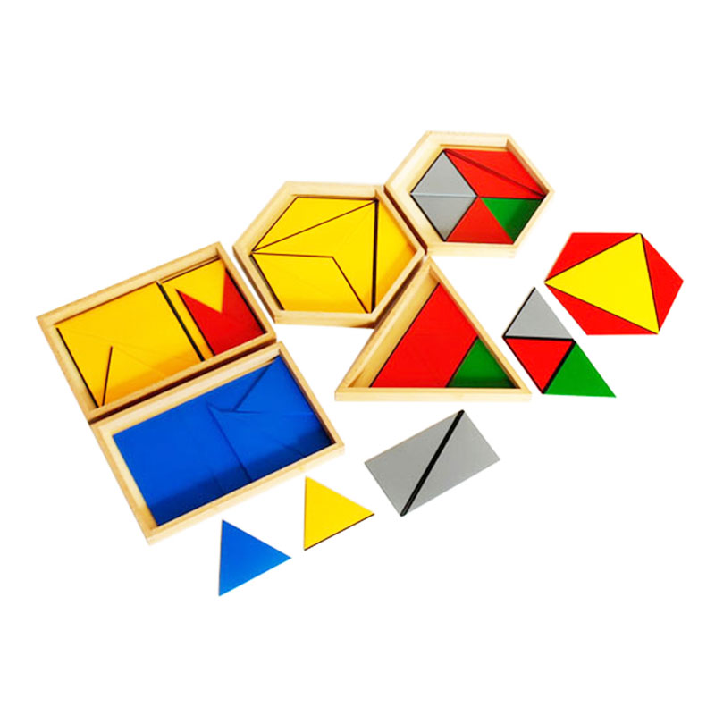 Jouets en bois Montessori pour bébé Triangles constructifs en cinq boîtes jouets éducatifs d'apprentissage précoce pour enfants cadeau d'anniversaire E2164Z