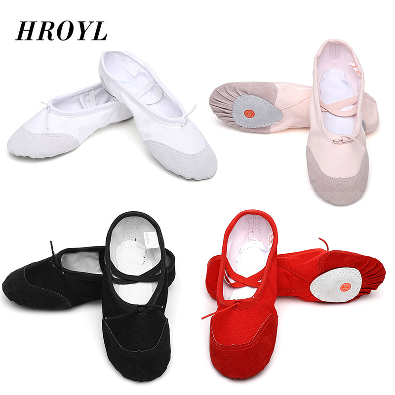 Hot Selling Soft Sole Ballet Dance Shoes for Kids Adults Women Black white  Canvas Pink Practice 95045d4a5418