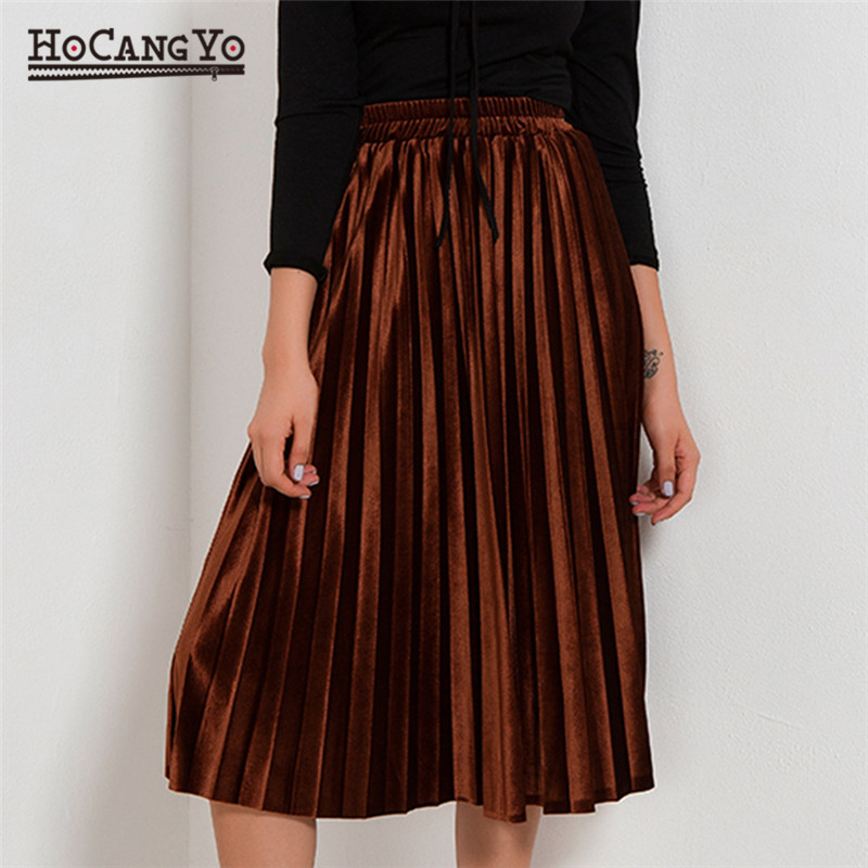 All-match Velvet Pleated Skirts Women Fashion Streetwear Midi Skirts Ladies Elastic Hight Waist Casual Skirt Autumn Winter 2019