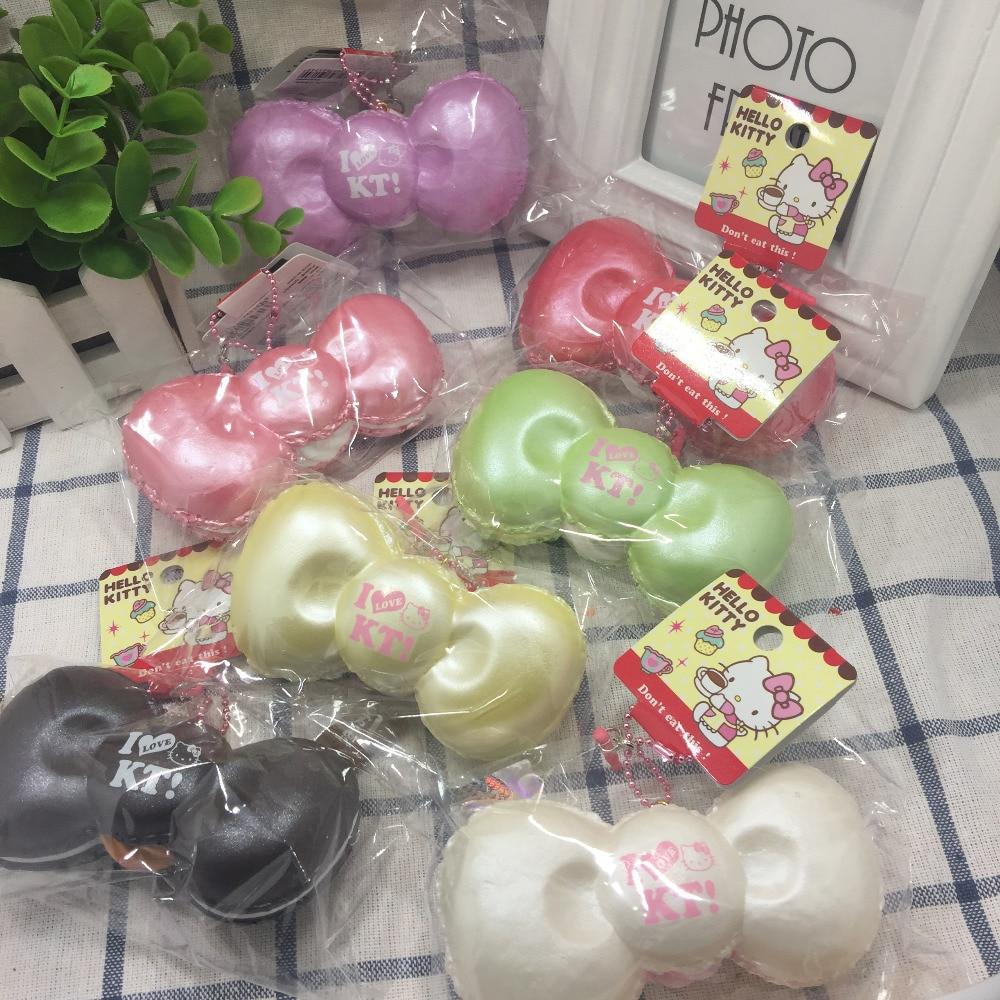 New hello kitty bow squishy Toys kuwaii squishys toys charm wholesales jumbo Squishies 7pcs lot original
