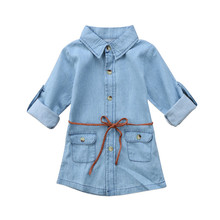 Baby Kids Girls Denim Long Sleeve Button Turn-down Collar Sashes Short Mini Dress Casual Party Shirt Dress High Quality 2018 long sleeve button down mini shift dress