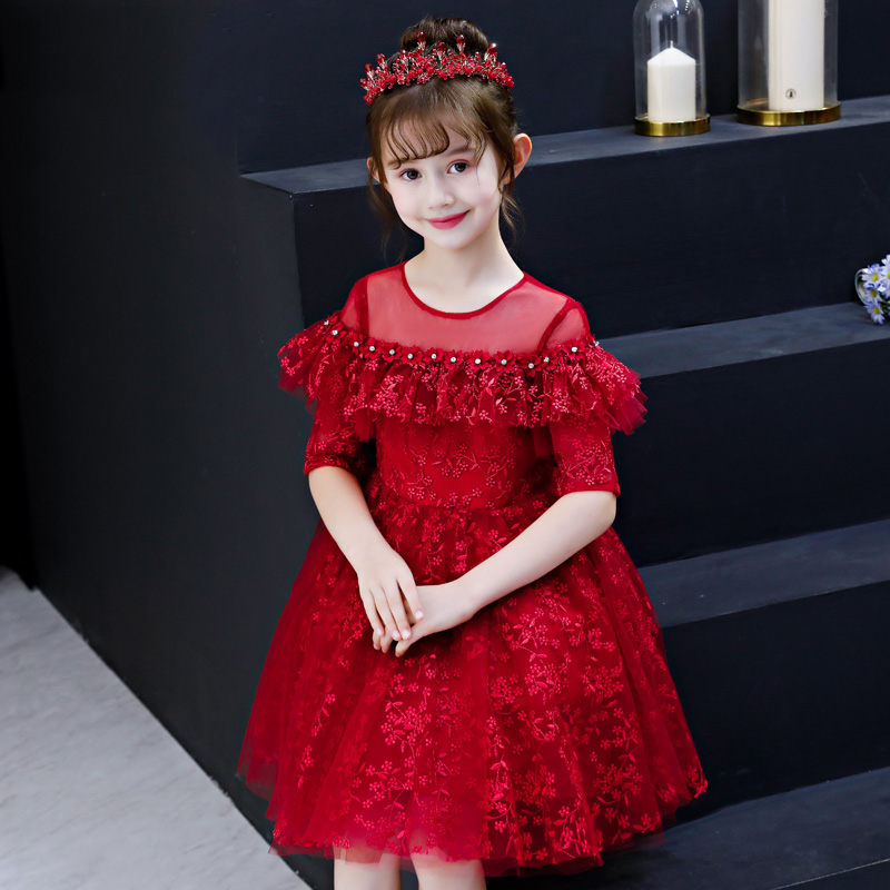 Wine Red Shoulderless FlowerAppliques Ball Gown Knee Length Kids Pageant Dress