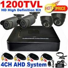 Security CCTV 1200TVL 720P 4CH AHD Day Night IR Camera DIY Kit High Definition Color Video Surveillance System Home Self Defense