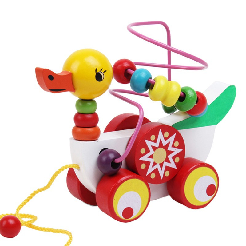 Educational duckling trailer toy mini around beads learning game multicolour children kids puzzle baby infant wooden Toys 4