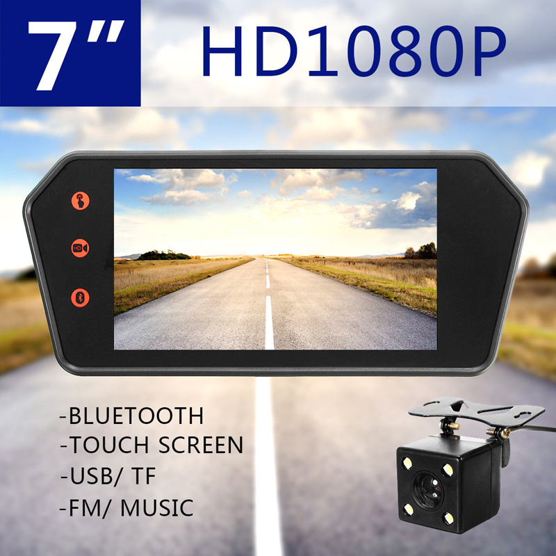 2017 Car 7 Inch HD 1080P TFT LCD Screen Bluetooth MP5 Mirror monitor USB / IF and Auto Rearview backup CCD camera Parking cam 7 car mirror monitor tft lcd vehicle car reaview mirror screen with remote controller bluetooth usb sd mp5 video player
