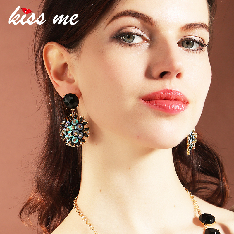 KISS ME Women Round Resin Statement Earrings 2018 New Alloy Vintage Big Dangle Earrings Luxury Brand Jewelry faux rammel alloy round square earrings