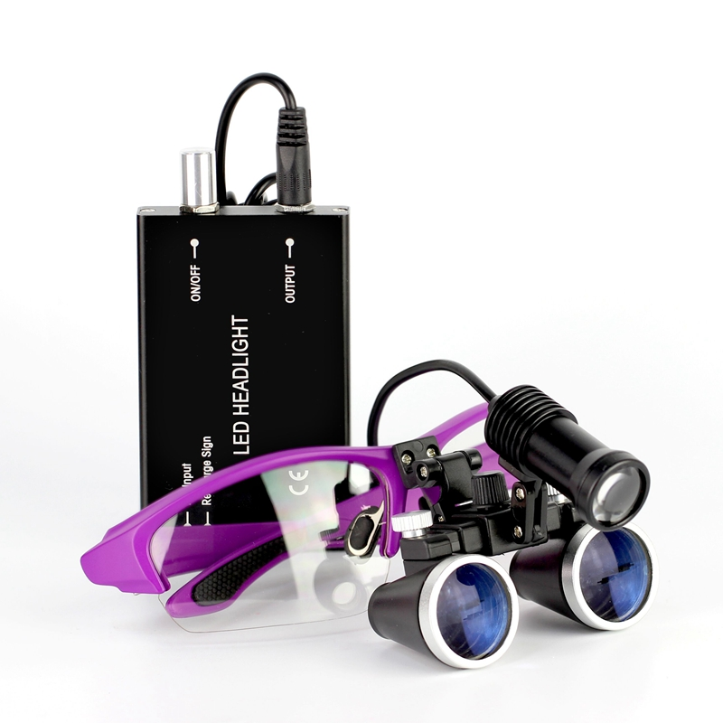 2.5X/3,5X420mm Dental Lupe Lupe Fernglas Lupe Chirurgie Chirurgische Medizinische Bedienung Lupe mit Scheinwerfer Kopf Licht