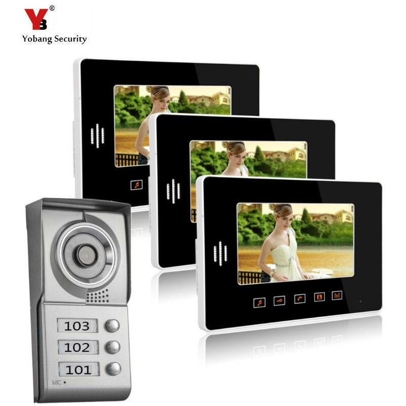 Yobang Security Apartment Intercom Entry System 3 Monitor 7 HD Color Video Door Phone Video Doorbell intercom System 3 Houses yobang security 9 inch lcd home security video record door phone intercom system doorbell video monitor for apartment villa