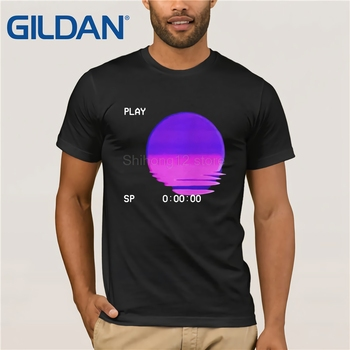 Gildan t shirt 2019 Fashion men t-shirt gildan Retro Futurism Vaporwave Summer Sunset T-shirt