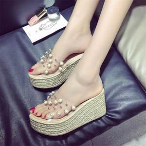 846be053005f HanDuEKe slippers summer transparent wedges sandals women