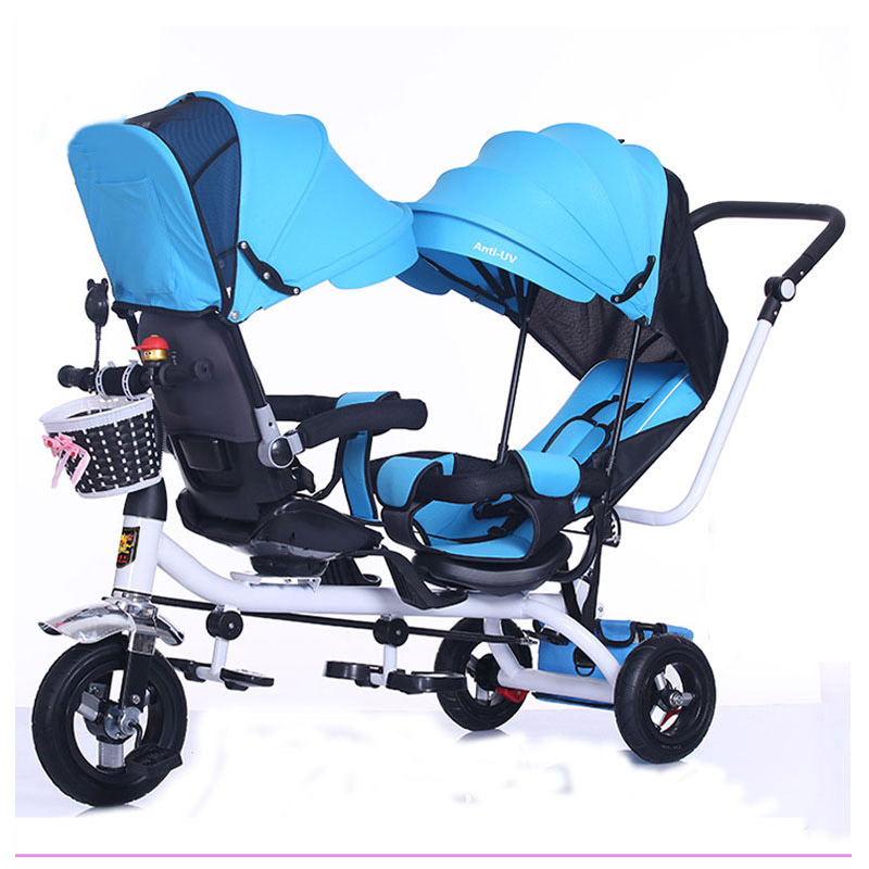 Swivel Seat Children Tricycle Twins Baby Double Stroller Child Tricycle Bicycle Three Wheels Trolley Pushchair Umbrella Stroller цена