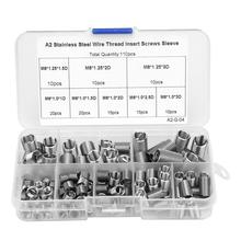 110pcs M6-M8/1D-3D Coiled Wire Braces Thread Insert Stainless Steel Fasteners Repair Tools Thread Screws Sleeve Set helicoil kit m11 1 25p 50pcs 1d 1 5d 2d 2 5d 3d each 10pcs metric thread repair insert kit sus304 thread series wire thread inserts