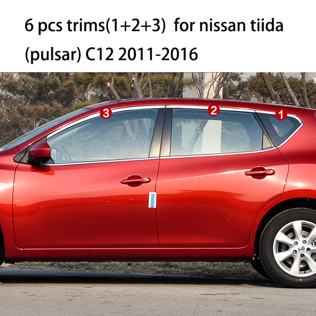 Lsrtw2017 304 Stainless Steel Car Window Trims For Nissan Tiida Pulsar C11 C12 C13 2004 2017 2018 2016