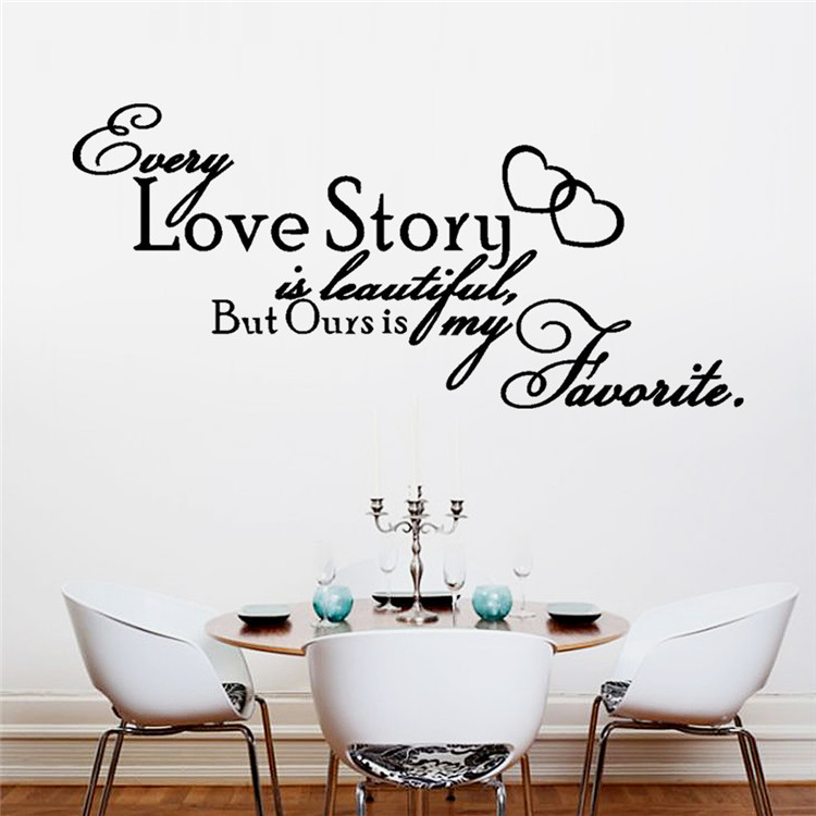 US $10 5 |PromoNew Fashion English Alphabet Every Love Story Bedroom  Bedside Glass Art Home Decoration Wall Sticker Free Shpping-in Wall  Stickers from