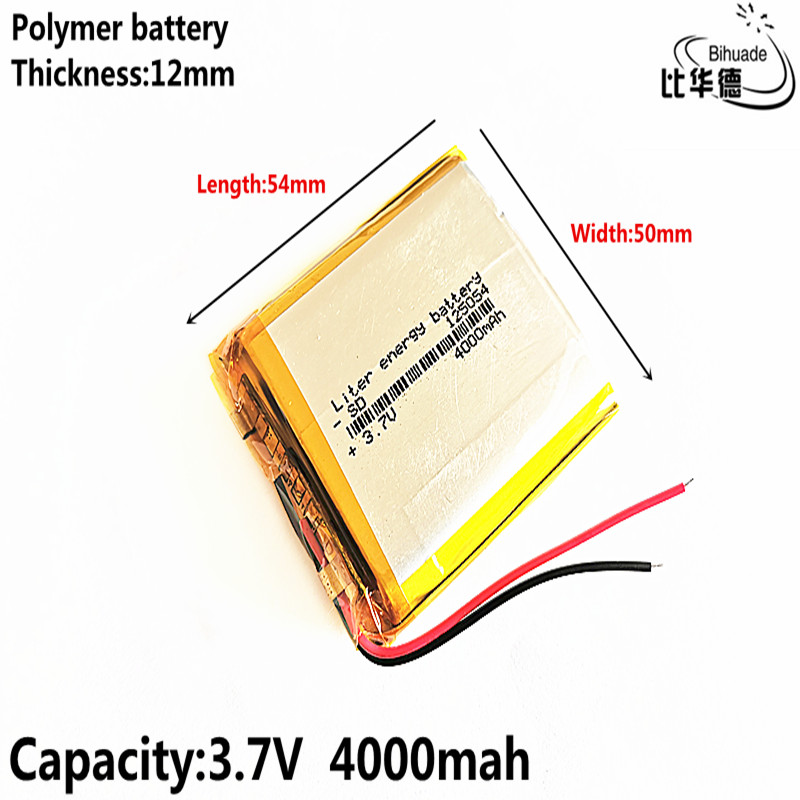 BIHUADE Free Shipping 3.7V 4000mAh <font><b>125054</b></font> lithium polymer battery MP3 MP4 navigation instruments small toys image