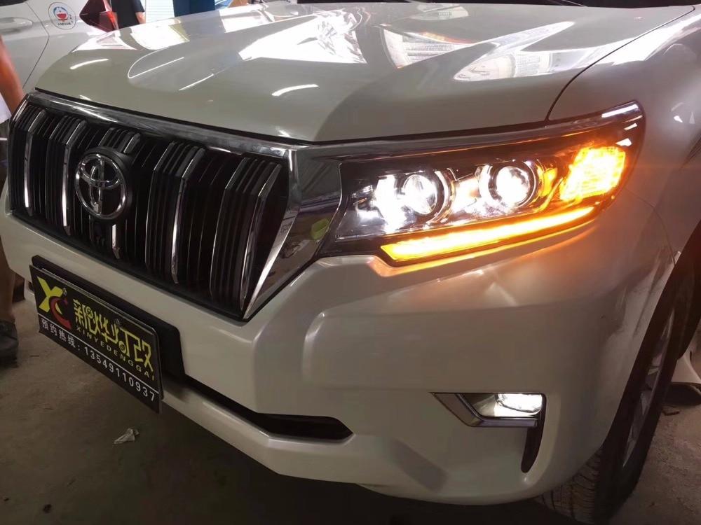 VLAND завод для автомобиля фара для Toyota prсветодио дный ado светодиодный головной свет 2018 2017 Landcruiser Prado фара с последующим сигналом