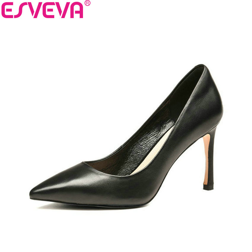 ESVEVA 2018 Women Pumps Sexy Thin Heels Shallow Shoes Cow Leather PU Slip on Pointed Toe High Heels Pumps Shoes Women Size 34-43 new pu printing leather sexy print pumps ladies elegant pointed toe thin high heels slip on shoes women shoes large size 33 48